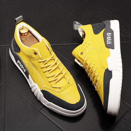 spring yellow NZ - Spring Fall Mens Yellow Hip Hop Shoes Round Toe Lace Up Designer Man British Fashion Casual Comfort Shoes Flat Platform Size 38-43 1F8M-403