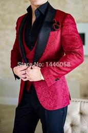 $enCountryForm.capitalKeyWord Australia - New Style Three Piece Red Evening Party Men Suits Shawl Lapel Trim Fit Custom Made Wedding Tuxedos (Jacket + Pants + Vest+Tie)W:646