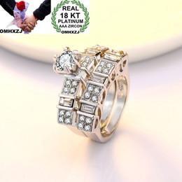 White Rose Day Australia - OMHXZJ Wholesale European Fashion Woman Man Party Wedding Gift Luxury White 18KT White Gold Rose Gold Ring Set RR446