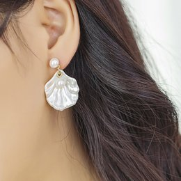 9b3ece84b 1 Pair Fashion Shell Pearl Ear Stud Simple Beach Style Earring Korean  Elegant Jewelry Accessory Gift For Women Girls