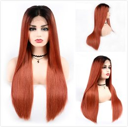 $enCountryForm.capitalKeyWord NZ - Long Straight Braided Lace Front Wigs T1B 350 Ombre Human Hair Glueless Wig For Black Women Cheap Colored Orange Malaysian Full Lace Wig