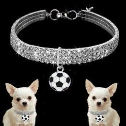 Puppy Pendants Australia - Pet Bling Rhinestone Puppy Dog Collars with Football Pendant For Dogs Chihuahua Collar Necklace Ornament Pet Accessories