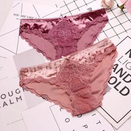 80f4d27b5a64 SP&CITY European Fashion Velvet Lace Sexy Underwear Women Hollow Out Ruffle  Low Waist Panties Sex Crotch Cotton Briefs Lingerie