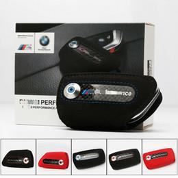 New M performance Carbon Fiber Car Leather Key Case Fob Holder Bag For BMW