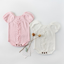 Romper Infant Australia - 2019 New Winter Autumn Baby Romper Girls Baby Knitted Handmade Sweater Puff Sleeve Newborn Baby Clothes Infant Knitted Jumpsuit