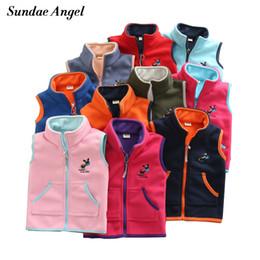 boys stand 2019 - Sundae Angel Vest For Girl Waistcoat Stand collar Children Vest For Boy Embroidery Donkey Pattern Polar Fleece Outerwear