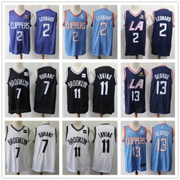 Logo jerseys online shopping - NCAA LA Kawhi Leonard jersey Clippers Paul George Brooklyn Kevin Durant Irving Kyrie Swingman Backetball jerseys Stitched Logos