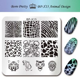 $enCountryForm.capitalKeyWord Australia - BORN PRETTY Stamp Print Stencils for Nails 6*6cm Square Nail Art Stamping Plates Template Animal Design Skull Image Plate BP-X13