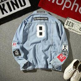 Trendy plus size jeans online shopping - Fashion Men Jacket and Coat Trendy Badge Men Denim Coat Top Autumn Fashion Mens Jean Jacket Outwear Male Cowboy Plus Size M XL Hot Sale
