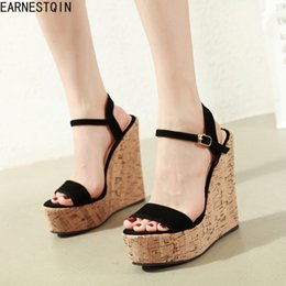 EuropEan womEn sandals wEdgE online shopping - European spring new simple wedge heel women sandals peep toe sandals shoes