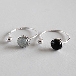 Wholesale New Simple Style Sterling Silver Round Beads Black Agate Moon Stone Open Size Rings For Women Statement Adjustable Ring