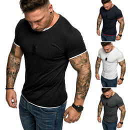 muscle fit white t shirt 2019 - Mens Slim Fit Short Sleeve T-shirt Crew Neck Casual T Shirt 2019 New Soild Tops Muscle Tee Shirts discount muscle fit wh