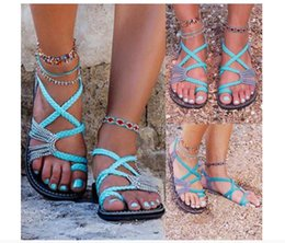 Chinese  Hot style large size rope knot 2019 summer European and American beach toe flat sandals women foreign trade shoes wholesale manufacturers