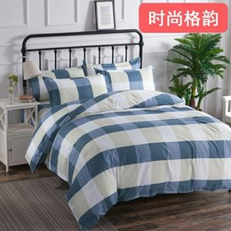 $enCountryForm.capitalKeyWord Australia - High quality cotton Bedding Set stripes Bed Set Twin Queen King Size Bed Sheet blue white Duvet Cover double-faced Linen