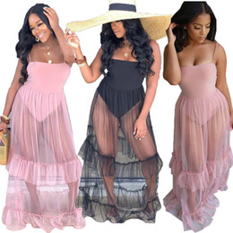 Sheer Maxi Summer Dresses Australia - Sheer Mesh Spliced Sexy Bohemian Dress Women Spaghetti Strap Backless See Through Dress Summer Strapless Ruffle Long Maxi Dress NZK-1800