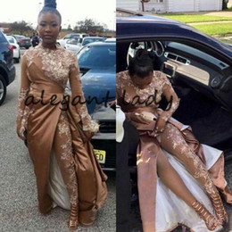 Pink long crystal Prom dress online shopping - Champagne Gold Prom Jumpsuit with Train High Neck Lace Stain Long Sleeve African Celebrity Formal Evening Dresses with Pant