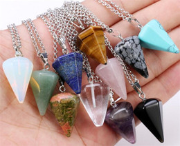 $enCountryForm.capitalKeyWord NZ - Natural Hexagonal Column Cone Crystal Stone Charm Pendant Necklace Crystal Healing Chakra Reiki Designer Necklaces Men Women Jewelry Gifts