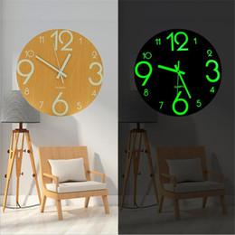 Modern Wooden Lights NZ - Luminous silent watch wall clock modern math horloge wooden living room wall wanduhr quartz clock watch decor for home klok