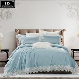 Wholesale 100S Egyptian Cotton Blue Luxury Royal Lace Romantic Girls Bedding Set King Queen Bed Sheet Set Duvet cover Pillow shams