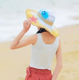 Hand Painting Beach Australia - 2019 new hot breathable ins hand-painted doodle grass hat summer beach hat female sunshade beach seaside foldable