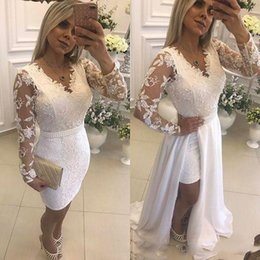 $enCountryForm.capitalKeyWord UK - 2019 Sexy V Neck Short Party Evening Dresses With Detachable Skirt Illusion Long Sleeves Lace Formal Prom Gowns For Evening