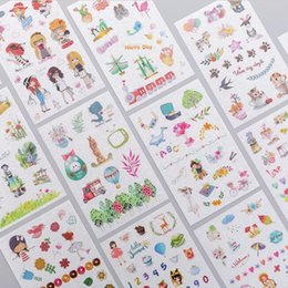 6 Sheets Rabbit Girl Book Sticker Diary Scrapbook Calendar Notebook Label Mobile Phone Decoration Baby Kids Toys School Supplies Office & School Supplies