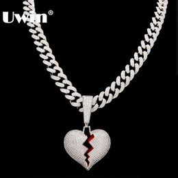 $enCountryForm.capitalKeyWord Australia - Uwin Broke Heart Pendant Necklace With 13mm Cubic Zirconia Cuban Link Chain Fashion Hiphop Luxury Iced Out Jewelry J190615