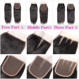 100% cheveux humains 4X4 Fermeture dentelle avec bébé cheveux Brésilien corps droit cheveux VAGUE dentelle Fermeture libre Moyen Partie III du Pérou Malaisie en Solde