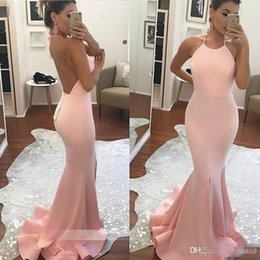 pictures personal Australia - Blush Pink Sexy Simple New Arrival 2020 Mermaid Prom Dresses Halter Backless personal Satin Sweep Train custom made dresses evening wear