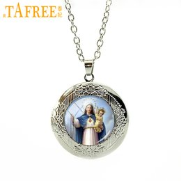 picture lockets pendant UK - TAFREE High quality art picture glass cabochon locket pendant necklace Virgin Mary of children Christian Catholic gift women jewelry VM22