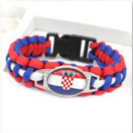 paracord sports 2019 - Croatia Flag Charm Paracord s & Bangles 18*25mm Cabochon Friendship Outdoor Camping Sport Bracelets 10pcs lot cheap para