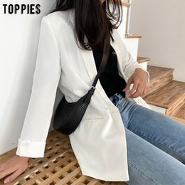 cheap blazers Canada - Cheap Blazers 2020 Women Solid Color Long Blazer Jacket Pleated Sleeve Loose Coat Office Lady Work Style Small Suit Single Button Blazer