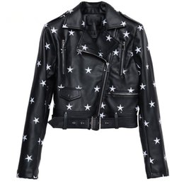 Womens motorcycle faux leather jacket online shopping - Street Fashion PU Leather Jacket Womens Star Embroidery Casual Motorcycle zipper Jackets bright streetwear femme p1376