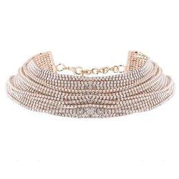 $enCountryForm.capitalKeyWord Australia - Women Fashion Rhinestone Layered Choker Necklace Silver, Gold Snake Chain Lobster Claw Casual