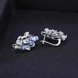 natural gold plated leaves NZ - GEM'S BALLET Natural Sky Blue Topaz Mystic Quartz Classic Jewelry 925 Sterling Silver Leaves Ring Earrings Pendant Set For Women
