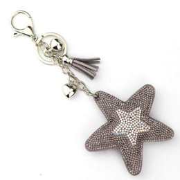 Car Key Cover Pink Australia - Fashion Jewelry Cute Women Key Chain Key Cover Rhinestone Inlaid Leather Tassel Star Fish Key Cap Gift Colors Wholesale