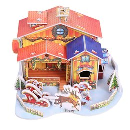 Miniature toys online shopping - Adornos De Navidad DIY Miniature Mini Christmas Paper House Puzzles Set Handcraft Cute Kids Toy Christmas Tree Decorations