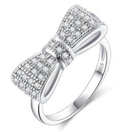 $enCountryForm.capitalKeyWord NZ - Fashion platinum Plated Cubic Zirconia Bow Tie Ring Micro Pave Cubic Zirconia Bowtie Ring freeshipping