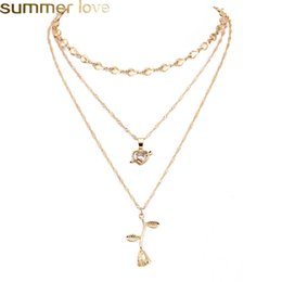 Discount necklace for girlfriend christmas gift - New Style Gold Multilayer Rose Necklaces Pendants Jewelry For Women Heart Cupid Zircon Love Charm Necklace Girlfriend Gi