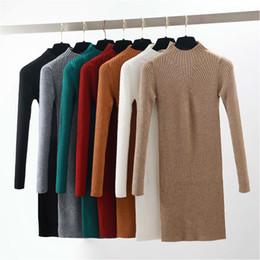 507855f167b 2018 Autumn Winter Warm Knitted Dress Women Half High Neck Long Sleeve  Pencil Casual Mini Bodycon Sweater Dress Plus Size Y190117