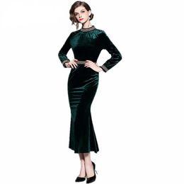 Ladies Long veLvet dress online shopping - High quality luxury runway European New ladies velvet dress beaded Trumpet Mermaid green Dress
