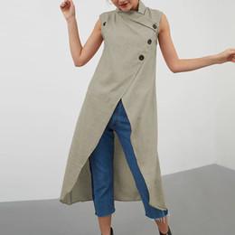 Spandex blouSeS online shopping - Womens Clothing Women Blouse Fashion Women Long Shirts Casual Summer Sleeveless Split Blouse Asymmetrical Tunic Tops Down Femininas
