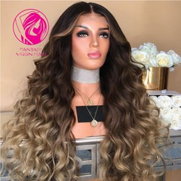 $enCountryForm.capitalKeyWord NZ - Fantasy High Density Lace Front Human Hair Wigs Ombre Layered Color Pretty Wavy Pre Plucked Brazilian Remy Hair 13x4 Front Lace Wigs