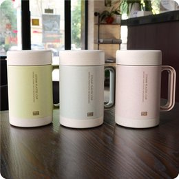 $enCountryForm.capitalKeyWord Australia - Wholesale- bap free Hot Selling double wall ceramic liner milk of NATURAL Green Wheat Straw PLASTIC BIODEGRADABLE Drinking coffee Mugs