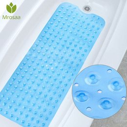 pads suction cups UK - 100x40cm Suction Cup Non-slip Bathroom Mat Safety Shower Bath Mat PVC Colorful Point Bead Massage Pad Bathroom Carpet Bath Mat