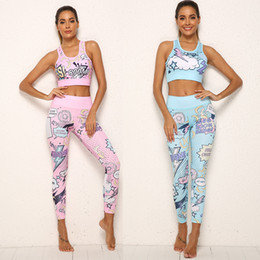 Long knee pads online shopping - 2 Piece Women Tracksuit Cartoon Yoga Set Running Fitness Bra Leggings Sports Suit With Pad Gym Sportswear Workout Clothes S XL SH190914