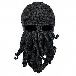 Chinese  Knitted Face Mask Octopus Knitted Windproof Hat Wool Ski Face Masks Event Party Halloween Knitted Hat Squid Cap Beanie Cool Gifts Mask manufacturers
