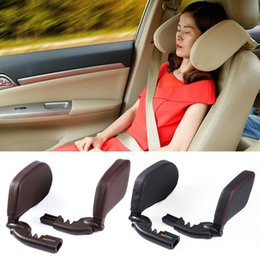neck headrest for car seat Canada - Car Seat Neck Pillow Sleeping Headrest Cushion PU Leather Neck Support With High Elastic Nylon Soft Pillow for Adults Children
