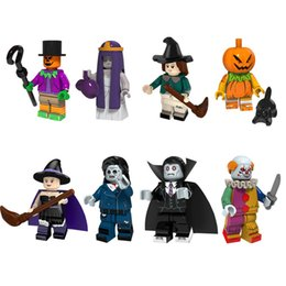 Wholesale New Arrival Mini Action Figure Clown Joker Vampire Pumpkin Witch Zombie Scarecrow Building Blocks Halloween Gift Toy For Kid Children