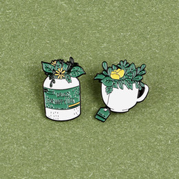 yellow flower brooches Canada - Happy Life Enamel Brooches Green Plants Leafes Tea Bag Custom Lapel Pins Coffee Cup Yellow Flowers Shirt Badge Jewelry Gift